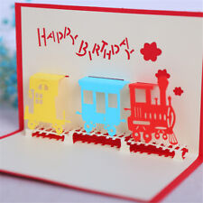 3D Train Greeting Card Pop Up Paper Cut Postcard Birthday Valentines Party RS