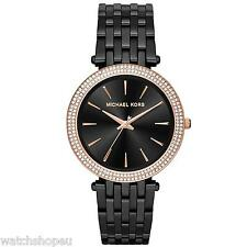 NEW MICHAEL KORS MK3407 LADIES BLACK AND ROSE GOLD DARCI WATCH - 2 YEAR WARRANTY