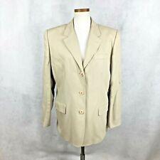 Talbots Womens Solid Beige Wool Blend Blazer Jacket sz 16