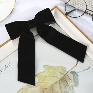 Large Velvet Bow Hair Barrettes for Women Long Ribbon Hair Clip Hair Accessories