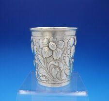 Repousse by Unknown Coin Silver Mint Julep Cup / Beaker Repousse Flowers (#3760)