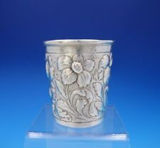 Repousse by Unknown Coin Silver Mint Julep Cup with Repoussed Flowers (#3760)