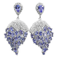 NATURAL BLUE TANZANITE PEAR OVAL ROUND & WHITE CZ STERLING 925 SILVER EARRING