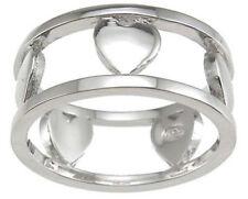 Designer Heart Anniversary Band 925 Sterling Silver Platinum FN Size 7