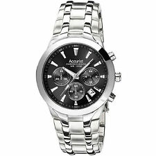 Accurist Mens Black Dial Chronograph Steel Bracelet Watch MB1060B RRP £175