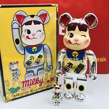 Medicom 100/% /& 400/% Bearbrick Peko Chan Be@rbrick Gold Lucky Cat Wink Ver.