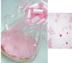 """1x10"""" DIY GIFT BASKET KIT PINK BUTTERFLY CELLO/TISSUE/BOW/CARD MOTHERS DAY/ BABY"""