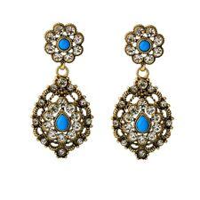 Boucles d`Oreilles Clous Doré Floral Chandelier Bleu Retro Mariage Class X17