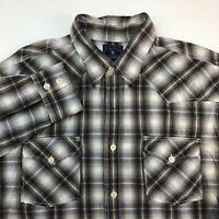 Lucky Brand Button Up Shirt Mens XXL Brown Plaid Long Sleeve Casual