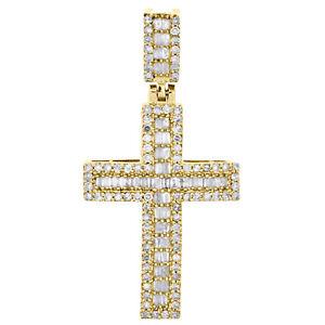 "10K Yellow Gold Round & Baguette Real Diamond Cross Pendant 1.30"" Charm 1/2 CT."