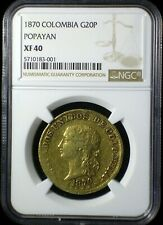 Colombia 1870 Popayan Gold 20 Pesos *NGC XF-40* Low Mintage Very Scarce Lo Start