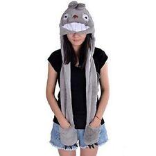 Cartoon Animal Earmuff Plush Totoro Cat Hat with Mittens Soft Plush Claws Hoodie