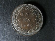 1 cent 1900 Canada one penny copper coin large Queen Victoria c ¢ VF-30 Bent