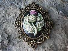 SCOTTISH THISTLE (HAND PAINTED) CAMEO BRONZE PENDANT - SCOTLAND - CELTIC