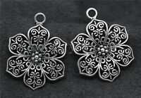 8/30/150pcs Antique Silver Beautiful Flowers Jewelry Charms Pendant 32x24mm Lot