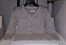Abercrombie Fitch Wool Blend Heathered Gray Open Knit Cardigan Sweater Medium