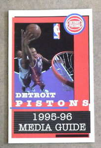 DETROIT PISTONS NBA BASKETBALL MEDIA GUIDE - 1995 1996 - NEAR MINT