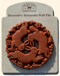 Three Hares Buddhist Style Animal Hand Craft Crafted Decorative Wall Tile