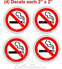 4 NO SMOKING -  2 inch DECAL STICKERS. UV COATED EXTERIOR ON WHITE FREE SHIPPING