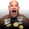"""Goldberg """"Big Gold"""" Championship Wrestling Belt Coin and Pin set in collectors b"""