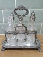 Rare Antique Walker & Hall Silver Plate 6 bottled  CRUET / CONDIMENT SET