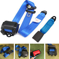 Blue 3 Point Seat Belt Lap & Diagonal Belt Kit For All Cars Bus Truck Adjustable
