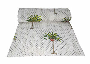 Indian Cotton Bedding Kantha Quilt Bed Cover Coverlet Hand Block Palm Tree Print