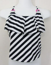 Xhilaration Girls Tankini Top Sz L 10/12 Black White Striped Ruffle Pink Accent