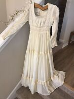 Vintage Gunne Sax Prairie Dress Full Sweep Boho Lace Ivory Wedding 70's sz S