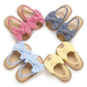 Newborn Gift Baby Girls Pram Shoes Infant Child Soft Sole BowKnot Summer Sandals