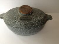 Antique John Wright Cast Iron Green Speckled Enamel Ware Dutch Oven/Humidifier