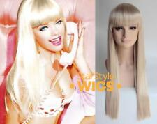 DELUXE BARBIE DOLL EXTRA LONG STRAIGHT BLONDE BLUNT FRINGE COSTUME WIG
