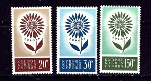 Cyprus #Mi240-Mi242 Mint CV€30.00 1964 Europa CEPT Flower Petals [244-246]