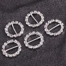 10 Round Crystal Rhinestone Silver Wedding Invitation 13mm Ribbon Buckle Sliders