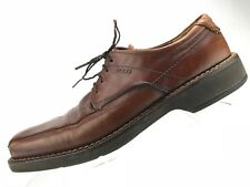 Ecco Oxford Casual Shoe - Dark Tanned Leather Square Toe Men's Sz 43 US 9/9.5