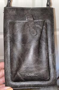ESPE Vegan Leather Dark Brown /Gray  iSmart Crossbody Purse