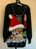Womens Ugly Christmas Sweater Huge Cat Kitty Santa Hat Bling sz Petite XL