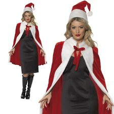 Luxury Christmas Santa Claus Cape Miss Father Christmas Fancy Dress Outfit Delux