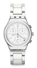 Swatch Snow Dream YCS603G Analogue Chronograph Stainless Steel Silver, White