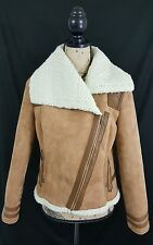 OLD NAVY Beige Zip Front Faux Suede Leather Jacket Women's Size Medium NWT