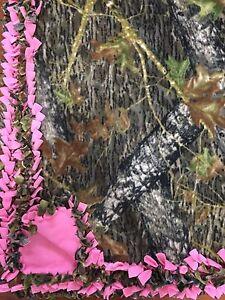 Mossy Oak Camo Pink Handmade Fleece Tie Blanket   LARGE 55x65   Pink Camouflage