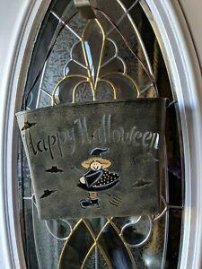 Vtg Rustic Bucket Metal Wire Wall Pocket Farmhouse Primitive Rusty Halloween