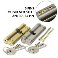 EURO-CYLINDER NICKEL DOOR LOCK 6 PIN ANTI SNAP KEYED ALIKE (VARIOUS SIZES)