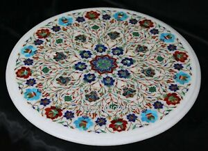 21 Inches Marble Sofa Table Top Inlay Coffee Table with Semi Precious Stones Art
