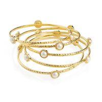 Ladies Five Piece Gold & Cream Pearl Bangle Set Womens Fashion Jewellery