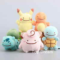 Pokemon Transform Ditto Pikachu Charmander Bulbasaur Squirtle Doll Plush Toy 6''