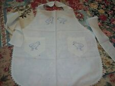 Vintage Handmade Embroidered Ducks Childs Full Pinafore Bib Cotton  Apron