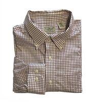 LL Bean Men's Size L Button Down Long Sleeve Shirt Excellent Red Gray Checks