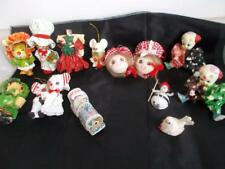 13 Vintage PAPER MACHE Christmas TREE ORNAMENTS Decorations MICE CLOWN GIRL BIRD