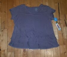 NWT Women's Taupe GREEN TEA Sand Washed Double Ruffle Top Size Large L